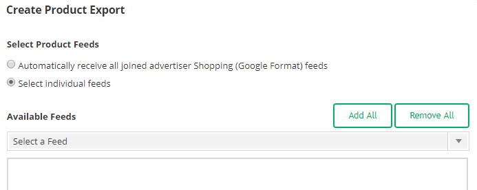 CJ Feeds: Use the drop down to select feeds from your joined merchants